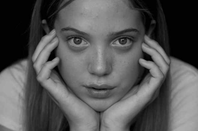 adolescent beauty black and white emotion